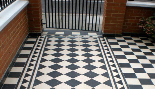 Black and white tiled path