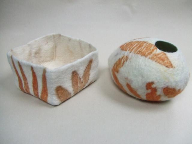 Felt vessels ecoprinted with eucalyptus by Flextiles