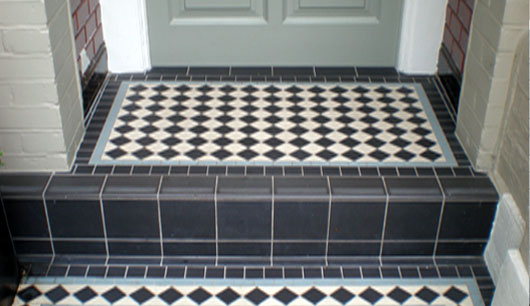 Black and white tiled doorstep
