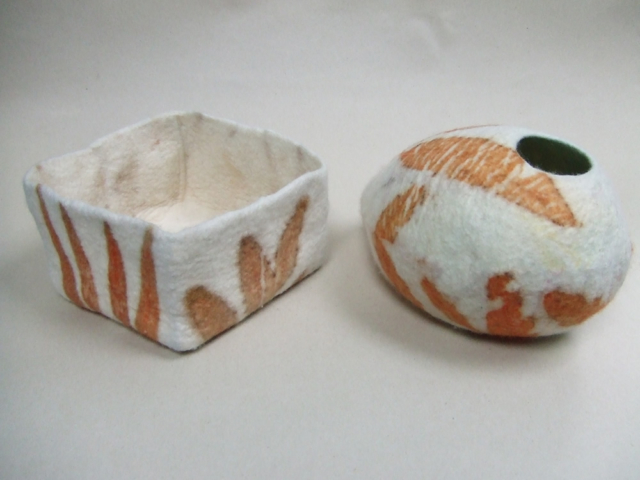 Felt vessels ecoprinted with eucalyptus by Flextiles