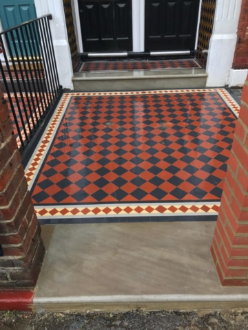 Black and red encaustic tiles