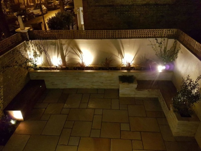 Moroccan inspired garden at night
