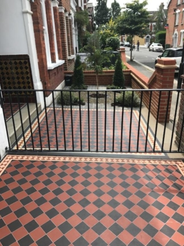 Victorian tiling and bespoke railings, Clapham